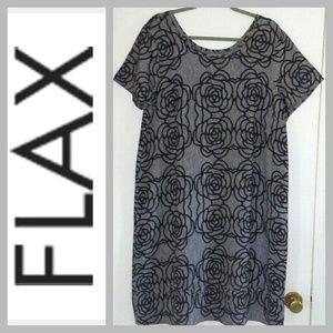 NWOT FLAX Blk & Gray Rose print Dress Size M
